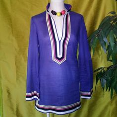 Tory Burch Tunic Sz T.B. Tunic 100% cotton.....Sz-4. Purple with pink,white,yellow & black ribbon trim.... No damage, in great condition... Tory Burch Tops Tunics