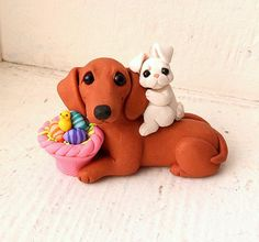 Dachshund Easter DOG Sculpture Polymer Clay Mini by Raquel at theWRC Collectible Doxie