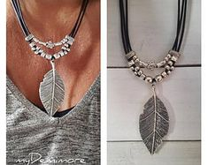 big feather Pendant leather necklace, feather pendant, Boho, Gypsy, woman leather necklace