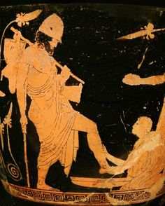 Griechische Vasenmalerei - Ulysses and Eurycleia / Penelope Painter Ancient Egyptian Art, Ancient Greece, Ancient History, Greek And Roman Mythology, Egyptian Mythology, Egyptian Goddess, Roman Artifacts, Mycenaean, Greek Pottery