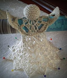 Here are the instructions for this angel! We start at the wing over a . Here are the instructions for this angel! We start at the wing with a thread ring and crochet as fo Easy Christmas Decorations, Crochet Christmas Ornaments, Beaded Ornaments, Christmas Tree Toppers, Christmas Angels, Christmas Crafts, Crochet Snowflake Pattern, Handmade Angels, Beaded Bookmarks