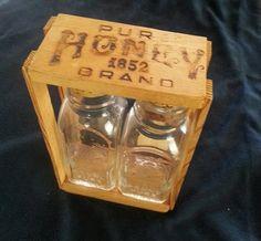 Antique Honey Bottles | Vintage Antique Pure Brand 1852 Honey Bottles In Wooden Case - 1lb ...