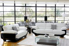 Create a stylish statement in your lounge with the Centro Leather Lounge Suite. Its unique design and black and white colour scheme provide a chic setting for entertaining guests, while its comfy cushioning makes it ideal for nights in watching TV. Best Furniture Online, Cool Furniture, Living Room Furniture, Furniture Ideas, White Lounge, Modular Lounges, Lounge Suites, Leather Lounge, Home Furnishings