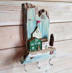 Wooden Key Holder Little House Key Hooks Miniature House Key
