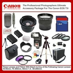 Best Value Accessory Package For Canon T3i (600D) T4i 650D includes: 8GB Hi Speed Error Free Memory Card, Hi Speed Card Reader, Battery & Charger, Hard Flower lens Hood, 0.5x Professional Wide Angle Lens , 2X Telephoto Lens, 50 Inch tripod, Digital Video Flash, Flash Diffuser and More...THIS LENS WILL ATTACH TO ANY OF THE FOLLOWING CANON LENSES 18-55mm, 50-200mm by Digital. $109.99. This Kit Includes:   8GB Hi Speed Error Free Memory Card Hi Speed Card Reader Ex...