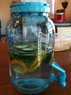 SKINNY WATER- 2L water, 1 medium cucumber, 1 lemon, 10-12 mint leaves, steep in fridge overnight and drink everyday.