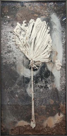 'Palm Sunday',  (plaster, branch, red clay in glass and metal frame) -  Anselm Kiefer (b.1945)