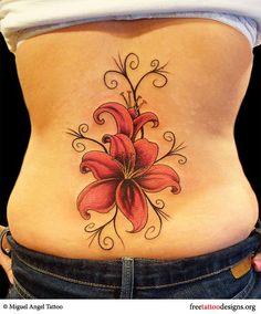 Flowers tattoo on a woman's | http://beautifulflowerscollectionsbrando.blogspot.com