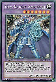 Original KONAMI Yu-Gi-Oh! Trading Card Gem-Knight Amethyst (Edelstein-Ritter Amethyst) Kartennummer: HA06-DE047 Deck: Hidden Arsenal 6 Häufigkeit: Secret Rare Kartentyp: Fusions-Monsterkarte Typ: Aqua / Fusion / Effekt ATK/DEF: 1950/2450 GBA: 71616908 | Günstig bei eBay kaufen!