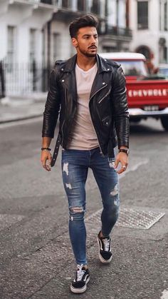 Stylish Mens Outfits, Casual Outfits, Men Casual, Black Outfit Men, Black Men, Leather Jacket Outfits, Best Mens Fashion, Mode Outfits, Mode Style