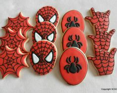 spiderman sugar cookies | ... Hero -Spidey-Super Hero Part y Platter Pack Hand decorated cookies