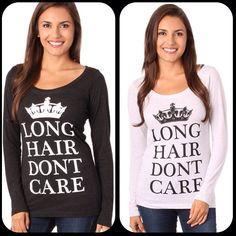 Long Hair Don't Care Keep Calm Long Sleeve. #crown #clothing #longhairdontcare #lhdc #LHDCclothing ⭐️www.LHDC.com⭐️