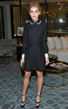 Kiernan Shipka from The Best of the Red Carpet The young star is the epitome of sophistication in this clean-cut, black collared dress for The Hollywood Reporter's Beauty Dinner. White Collar Dress, Black Collared Dress, White Dress, Krysten Ritter, Keri Russell, Kirsten Dunst, Kate Bosworth, Keira Knightley, Mad Men