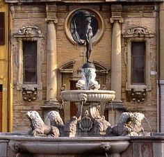 Fano, Italy - fountain. The main Square, with its Fountain of Fortune, is the setting of the neo-classical theatre of the same name which has a splendid interior by Luigi Poletti.