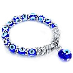 Leelo Jewelries Evil Eye Glass Beads Bracelet with Rhinestone Spacers and Dangling Evil Eye Evil Eye Jewelry, Evil Eye Bracelet, Jewelery, Jewelry Bracelets, Chakra Beads, Jewelry Accessories, Fashion Accessories, Fitness Bracelet, Homemade Jewelry