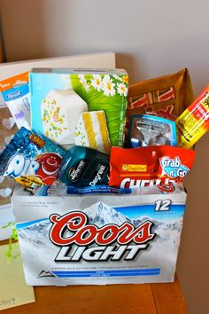 Easter basket for the man in your life or birthday gift!  This could also be recreated at Christmas as a stocking.  This is a cool idea because 1) it's rather inexpensive and 2) guys just don't care enough about stuff like this so it's perfect!