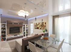 Apartment Living Room Dining Combo | Rendering of Living/Dining Room Combo in apartment building.