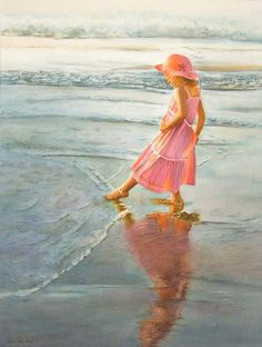 PINK AND SEASHORE COLOR Figurative Paintings in Oil and Watercolor