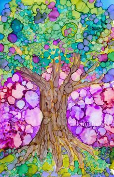Tree of Life Original Alcohol Ink Painting 6x9 Art by kmichelles