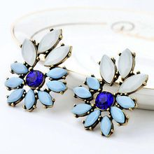 2015 Women Flower Rhinestone Alloy Statement Ear Stud Earrings Cocktail Party Jewelry  6I8H(China (Mainland))