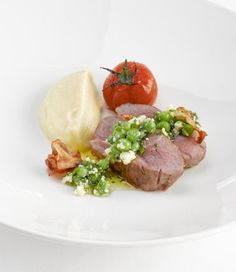 Pink Roasted Lamb with Celeriac Puree and Pea, Mint and Feta Dressing ...