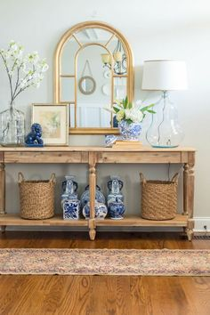 and refreshed Spring entryway Spring entryway refreshed with World Market Everett table, blue and white pieces and fresh spring flowers. via entryway refreshed with World Market Everett table, blue and white pieces and fresh spring flowers.