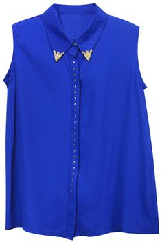 #Romwe Rivet Embellished Blue Shirt