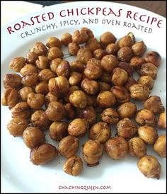 These crunchy, spicy, oven roasted chickpeas are great on their own as a snack or added to recipes. #paleo #glutenfree #recipes