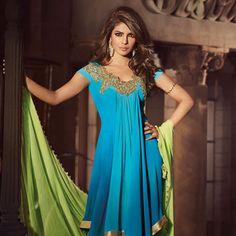 Shaded Blue Faux Georgette Asymmetric Churidar Kameez - Priyanka Chopra