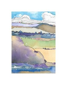 Original  Painting Watercolor Mixed Media Landscape Mountains