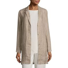 Eileen Fisher Organic Linen Long Jacket (¥16,755) ❤ liked on Polyvore featuring outerwear, jackets, lightweight jacket, long line jacket, long brown jacket, light weight jacket and brown jacket