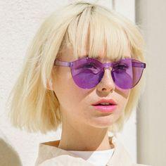 Rimless Monoblock Cut PC Color Lens Rimless Sunglasses A368