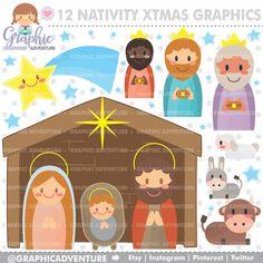 Nativity Clipart Nativity Graphics COMMERCIAL por GraphicAdventure