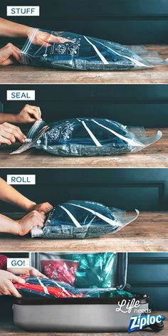 Such a smart tip from /jojotastic/! Use Ziploc® Space Bag® Travel bags in your suitcase when traveling. They don't require a vacuum, so you can pack and unpack them easily. Just stuff, seal, roll, and go. Perfect for carry-on bags, organizing kids outfits, or separating different types of clothing.