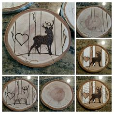 Step by step I turn a sanded wood disc into an ornament that can be personalized with initials.  Now adding a whitetail but to the moose and bear listing.