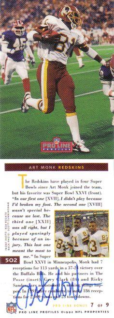 Art Monk Autographed Football Card - Washington Redskins, New York Jets