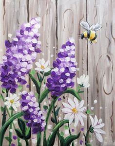 Hey Check out Bee-utiful Barnyard Lilacs at Bair s All-American Sports Grill-South Campbell - Yaymaker Lilac Painting, Acrylic Painting Flowers, Acrylic Painting Canvas, Diy Painting, Watercolor Paintings, Canvas Art, Canvas Painting Tutorials, Fence Painting, Simple Acrylic Paintings