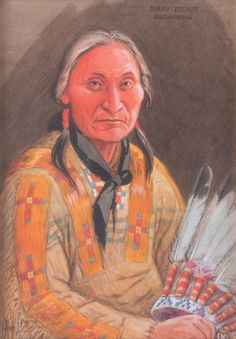 Joseph Scheuerle, gouache Gray Bear Assiniboine Chief kK