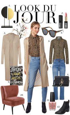 f10e0cb0312 Leopard print blouse+high-waist skinny jeans+black ankle boots+black  shoulder