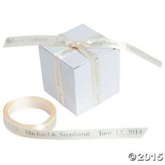 Personalized Ivory Ribbon, Satin Ribbons & Bows, Gift Bags, Wrap & Ribbon, Party Favors, Party Supplies - Oriental Trading