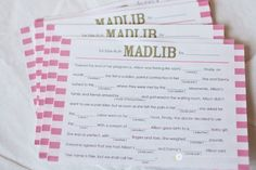 Mad Lib fun at the Baby Shower! Love it!