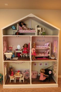 american girl house Listing is for an electronic pdf file of plans only - not actual dollhouse This listing is for a pdf file American Girl Doll or 18 inch doll House plans. My hus Casa American Girl, American Girl Crafts, American Girls, American Girl Storage, American Girl Doll Room, Ag Doll House, Doll House Plans, Doll Houses, Barbie House