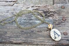 initial necklace by  BirdsOnaWireVintage.com