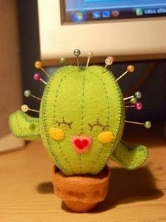 Felt cactus pincushion-- this is precious Felt Crafts, Fabric Crafts, Sewing Crafts, Diy And Crafts, Kids Crafts, Sewing Projects, Craft Projects, Arts And Crafts, Cactus