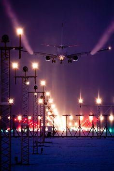 Finland airport - plane landing at night