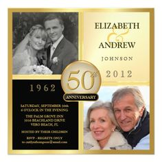 Wedding Anniversary Then & Now Photo Invitations
