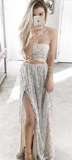 Two Piece Sheath Prom Dress,Strapless Beading Prom Gowns,Glamorous Split Long Prom Dress,Two Pieces Party Dress,Long Prom Dresses