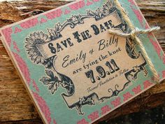 Save the date cards rustic country wedding by sweetinvitationco