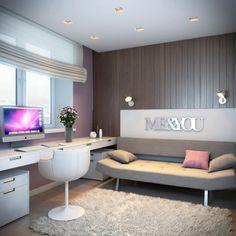 chambre fille ado de style moderne avec tapis shaggy et lambris mural