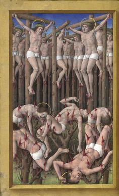 Ten Thousand Martyrs / Des dix milles martirs // Horae ad usum Romanum, dites Grandes Heures d'Anne de Bretagne (vue 363 - folio 177v) // Date d'édition: 1505-1510 // Latin manuscrit // Bibliothèque nationale de France